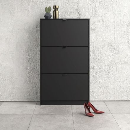 Shoes Shoe cabinet w. 3 tilting doors and 2 layers in Matt Black